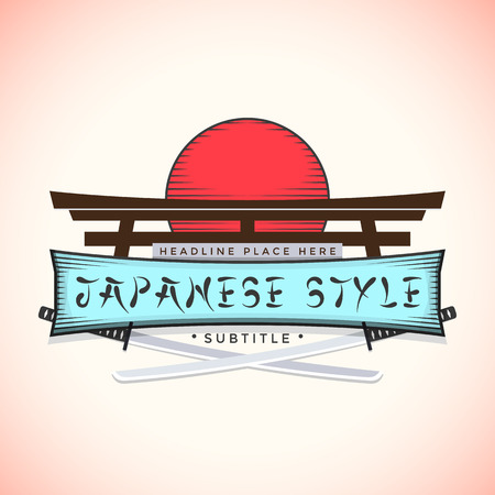 color japan style sign with catanas