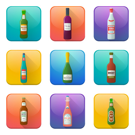 color glossy alcohol bottles icons set