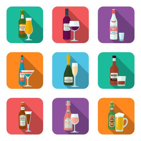 フラットなデザイン アルコールのボトルとグラス影のアイコンを設定で