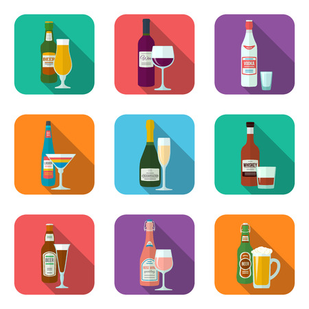 old bar: flat design alcohol bottles and glasses with shadow icons set Illustration