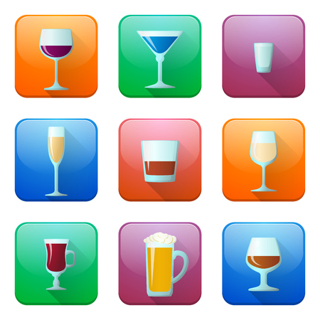 color vector glossy alcohol glasses icons set