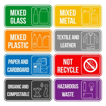 separate collection of waste labels set Illustration