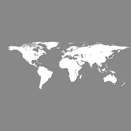white world map with shadow on grey