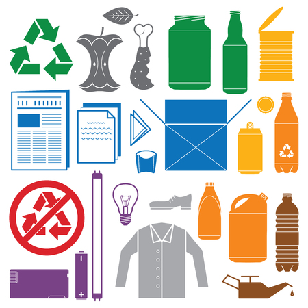 color separation: vector solid colors recycling and various waste color icons Illustration