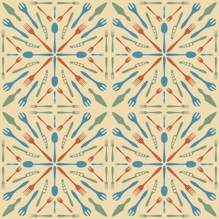 ceramic tile: vector beige color solid colors cutlery seamless pattern in ceramic tile retro style