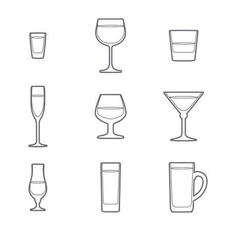 vector grey outline alcohol glasses icon set  イラスト・ベクター素材