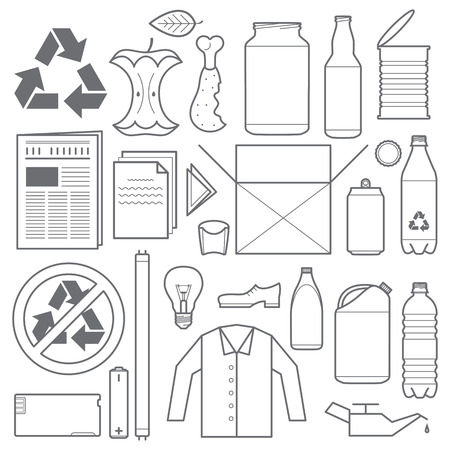 ベクター アウトライン グレー色のリサイクルと廃棄物の様々 なアイコン  イラスト・ベクター素材