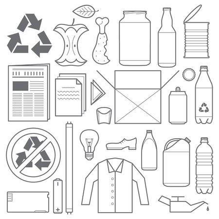botellas de plastico: Vector esquema de reciclaje de color gris y varios iconos de basura