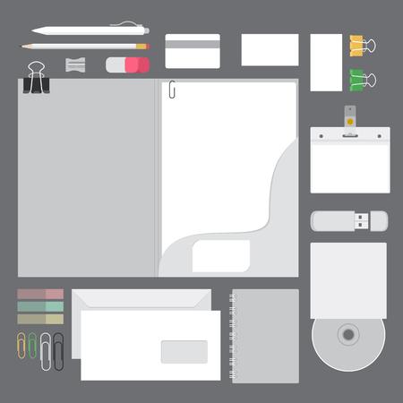 kırtasiye ve yazma cihazları düz tasarımı ile vektör set kimlik mock up Illustration