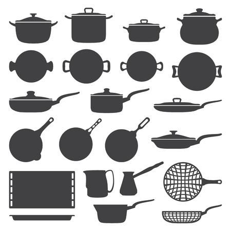 ベクター シルエットの暗い灰色の調理器具セット