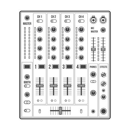 vector overzicht geluid dj mixer met knoppen en schuifregelaars