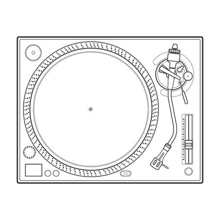 party dj: vector outline vinyl dj turntable Illustration