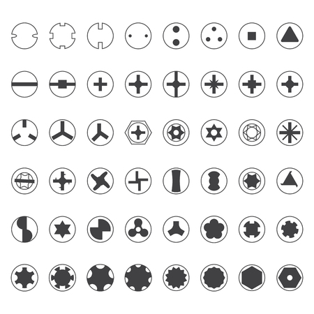 slotted: vector dark grey screw heads top view silhouette set Illustration
