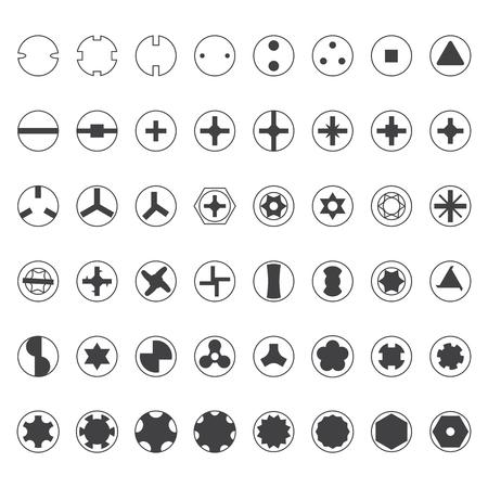gimlet: vector dark grey screw heads top view silhouette set Illustration