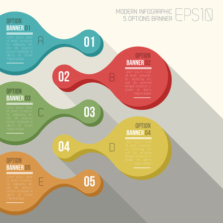vector color rounded 5 option banner infographic Illustration