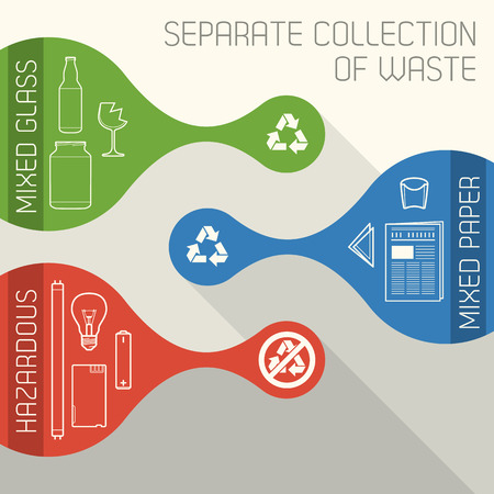 hazardous waste: vector Recycling And Hazardous waste separate collection banners Illustration