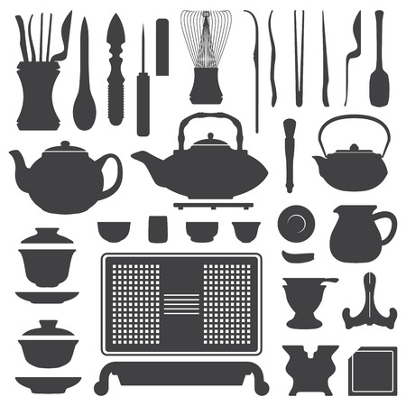vector tea ceremony tools and equipment silhouette set Çizim