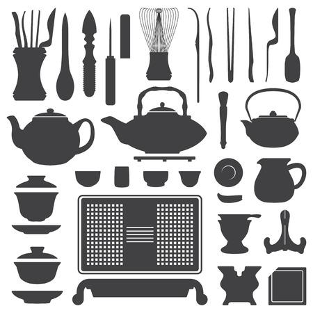 vector theeceremonie gereedschappen en apparatuur silhouet set Stock Illustratie