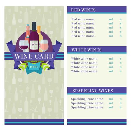 vector color flat design Wine Card template Illustration