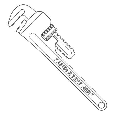 vector overzicht donkergrijs pijp verstelbare metalen moersleutel