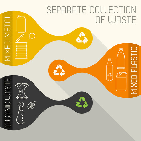 metal recycling: vector flat colors recycling metal plastic and organic waste separate collection banners