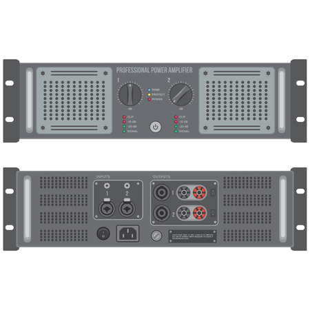vector flat colors stereo speaker amplifier front back panels