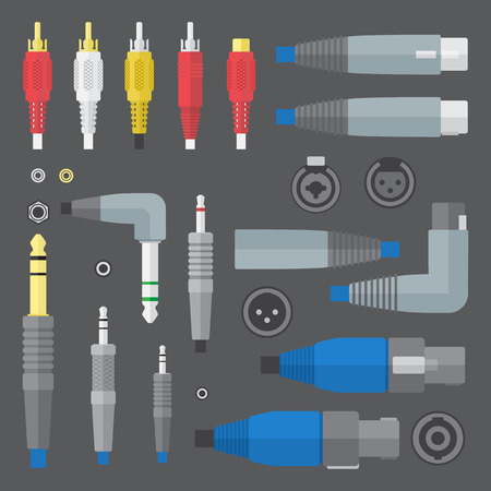 vector flat colors various audio connectors and inputs set Vector