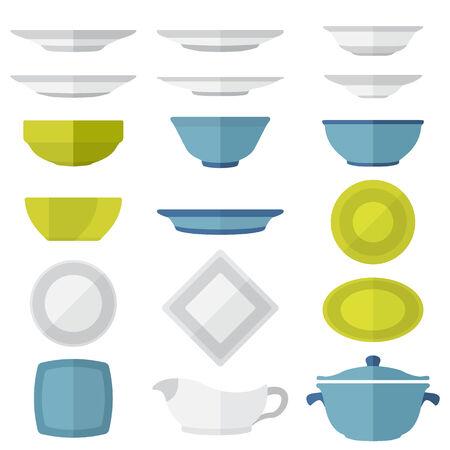 Çeşitli vektör renk düz stil tabak ve yemekleri set