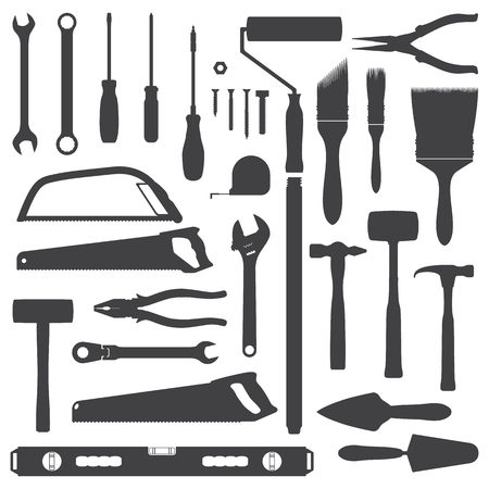improvement: vector house remodel instruments dark grey silhouette set Illustration