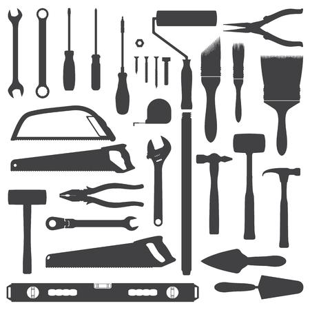 vector house remodel instruments dark grey silhouette set