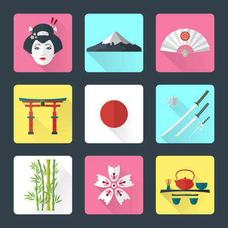 vector color flat style japanese national theme icons with shadow set Vector