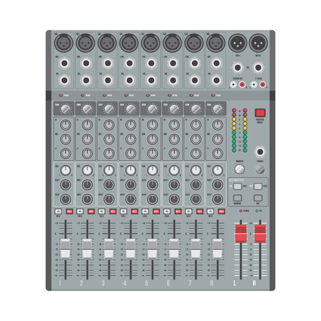 vector flat design concert sound mixer with knobs sliders and inputs Illustration
