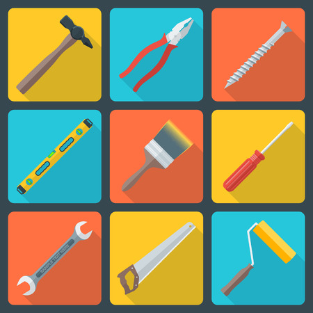 vector various color flat design house repair instruments equipment icons with shadow