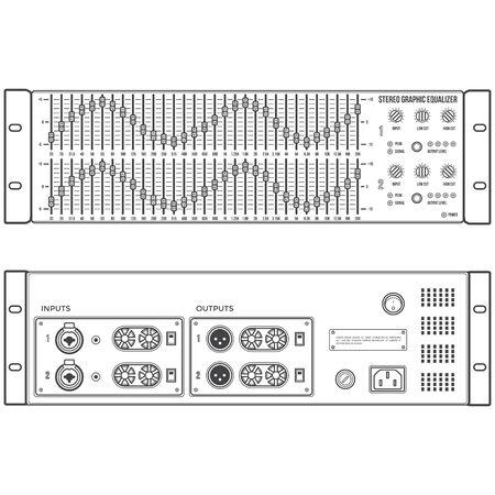vector outline monochrome speaker stereo graphic equalizer front back panels Illustration