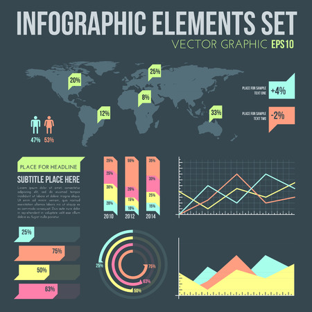 vector flat design infographic elements set with map and charts on dark background