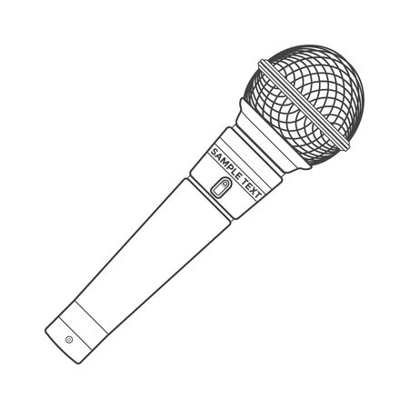 congresses: vector dark grey color outline stage microphone device