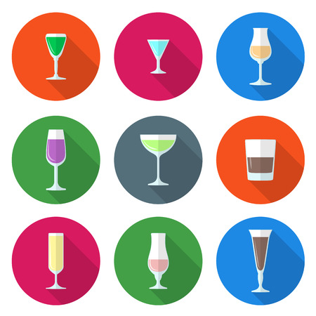flat design solid colors alcohol glasses set Vector