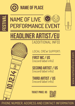 vector monochrome yellow brown club poster template with microphone and connectors