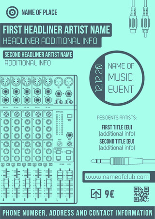 dj mixer: vector monochrome blue club poster template with sound mixer and connectors