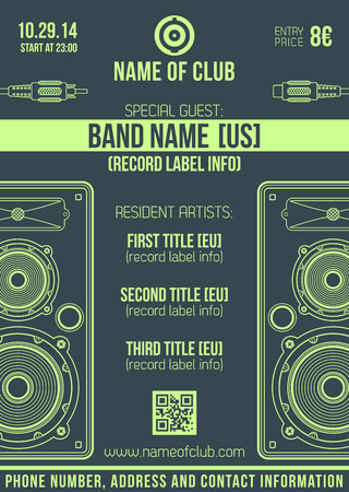 vector monochrome dark green poster template with loudspeakers and connectors Illustration