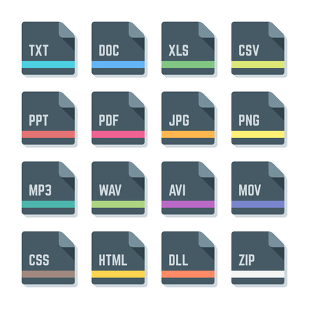 htm: vector flat style dark grey rounded square proportion file formats colored icons