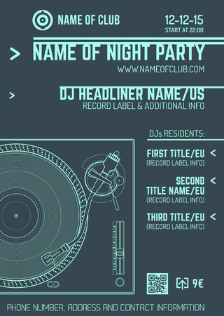 vector monochrome light blue club poster template with turntable and vinyl record on dark