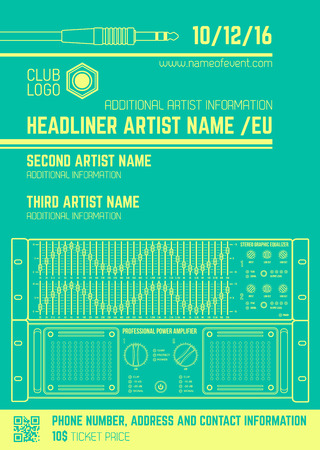 poster art: vector monochrome light green club poster template with sound equalizer and amplifier