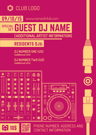 dj turntable: vector monochrome red orange club poster template with sound mixer and cd turntable Illustration