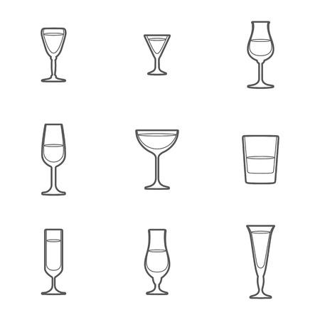 vektör gri anahat alkol gözlük simge seti Illustration