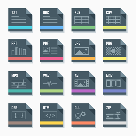 htm: vector flat style dark grey square proportion file formats icons with symbols Illustration