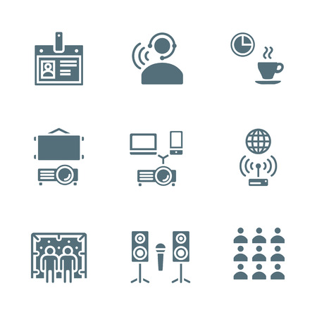spokesperson: vector solid grey color conference theme icons