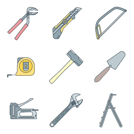 stepladder: vector various colored outline house repair instruments equipment icons