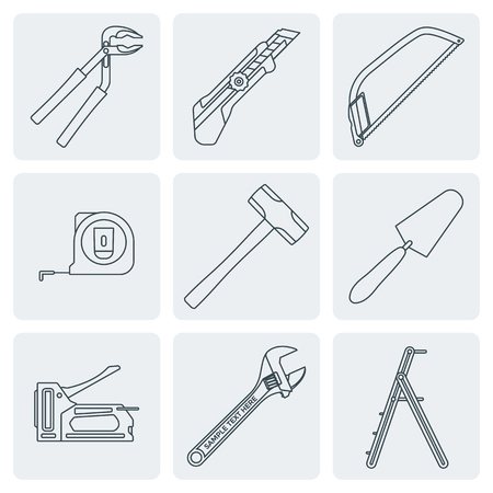 rung: vector various grey outline house repair instruments equipment icons