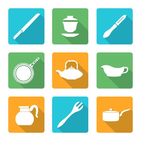dinnerware: vector various flat design white dinnerware tableware utensil icons with shadows